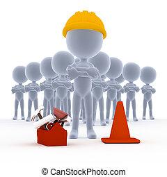 építők, toon, munkás, noha, eszközök