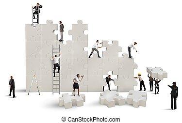 épít, egy, új, társaság
