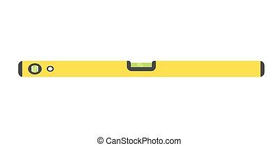 épület, ábra, mérés, elszigetelt, vektor, sárga, háttér., egyszintű, fehér