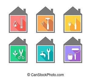 épület, állhatatos, eszközök, munka