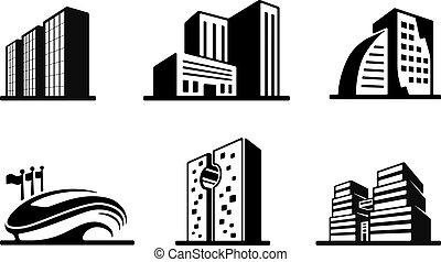 épület, állhatatos, ikonok, vektor, fekete, fehér
