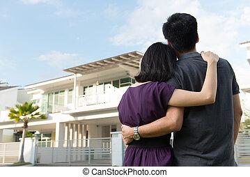 épület, álmodik, család