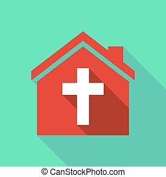 épület, árnyék, keresztény, kereszt, hosszú