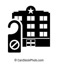 épület, árnykép, hotel, címke, tervezés, ajtó