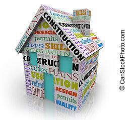 épület, épület, építő, szállító, terv, szerkesztés, otthon, új
