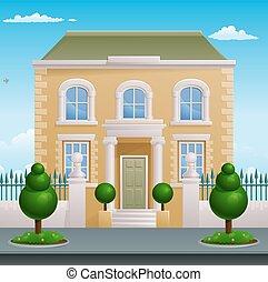 épület, épület, grúz, viktoriánus