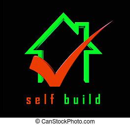 épület, épület, maga, -, ábra, magad, szerkesztés, épít, ikon, előad, 3