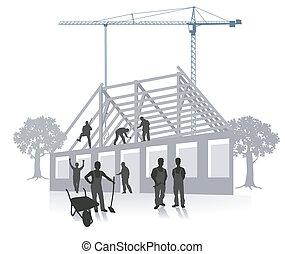 épület, épület szerkesztés, munka