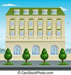 épület, épület, viktoriánus, grúz