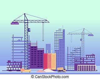 épület, épületek, befejezetlen, process., ábra, vektor, szerkesztés, machines.