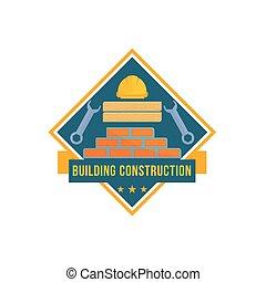 épület, és, épület szerkesztés, eszközök, vektor, ikon