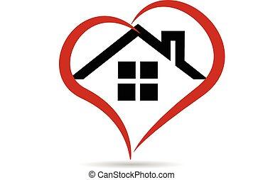 épület, és, szív, vektor, jel