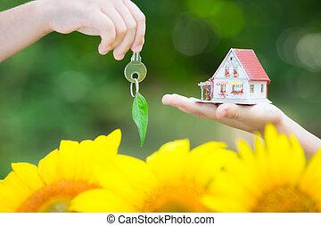 épület, ökológia, kulcs, kézbesít