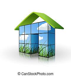 épület, ökológiai, fogalom