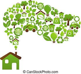 épület, ökológiai, vektor, -, tervezés