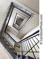 épület, öreg, lépcsőház, romos