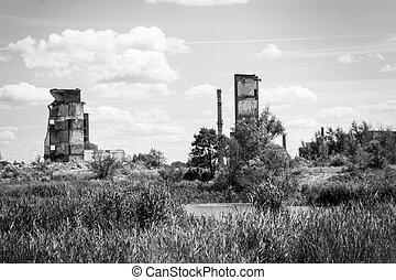 épület, öreg, maradványok, ég, felhős, ellen, tönkretesz