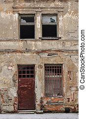 épület, öreg, romos
