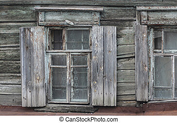 épület, öreg, windows