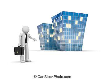 épület, új, invitál, hivatal, üzletember