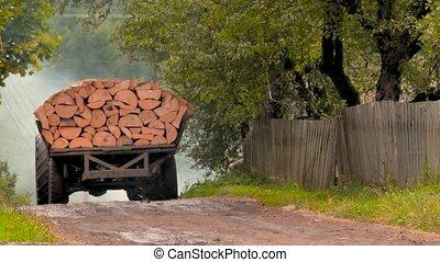 épület, út, kivágott, fahasáb, vezetés, vidéki táj, fa.,...