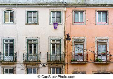 épület, ősi, öreg, külső, erkély