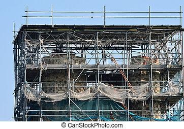 épület, ősi, restaurálás, alatt