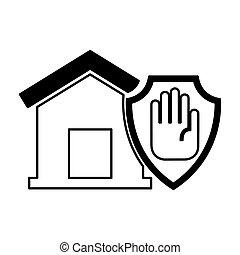 épület, abbahagy, elszigetelt, kéz, biztosítás, ikon