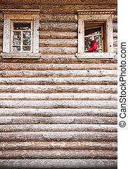 épület, ablak, öreg