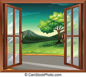 épület, ablak, út