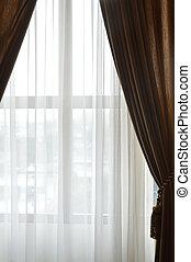 épület, ablak, függöny