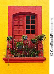 épület, ablak, mexikói