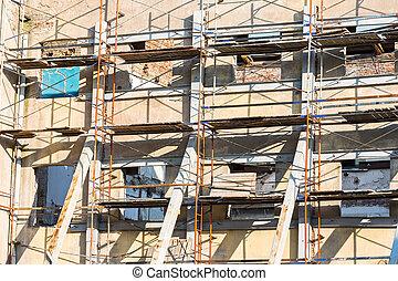 épület, acél, öreg, lokátorral helyet határoz meg, rendszer, restaurálás, alatt