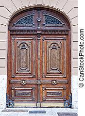 épület, ajtó, fából való, öreg, elülső, pazar, város