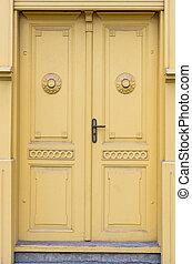 épület, ajtó, fény, sárga, lett, elülső, öreg