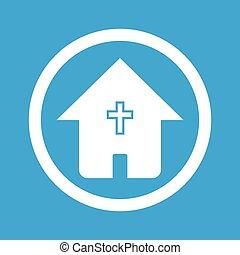 épület, aláír, keresztény, ikon