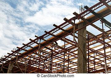 épület, alatt, előrehalad