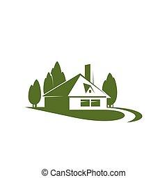 épület, alatt, zöld erdő, liget, vektor, ikon