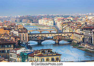 épület, arno folyó, és, bridzs, közül, firenze, toszkána, olaszország