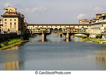 épület, arno folyó, és, ponte vecchio, bridzs, közül, firenze, toszkána, olaszország