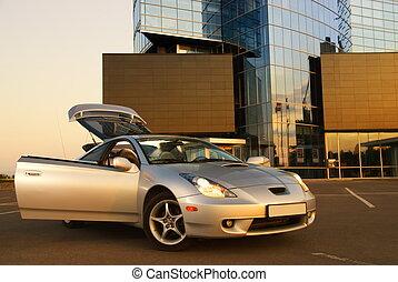 épület, autó, modern, sport, hivatal