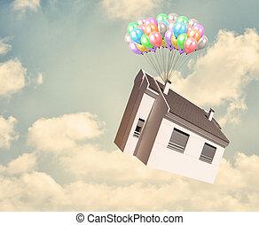 épület, balloon, ég