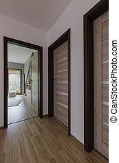 épület, bejárat, noha, wooden emelet