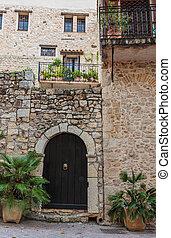 épület, belépés, öreg, francia