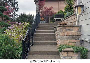 épület, belépés, lépések, lépcsőfok, beton