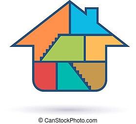 épület, belső, lakás, jel