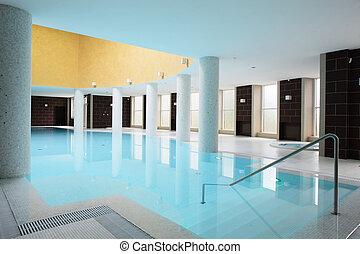 épület, belső, swiming, pocsolya