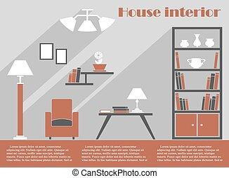 épület, belső tervezés, infographic, sablon