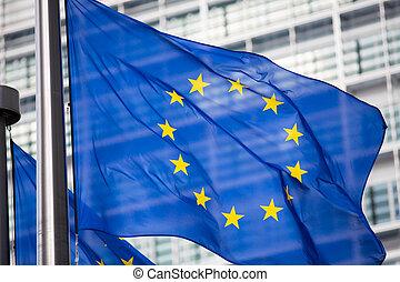 épület, berlaymont, elülső, eu, lobogó, épülethomlokzat