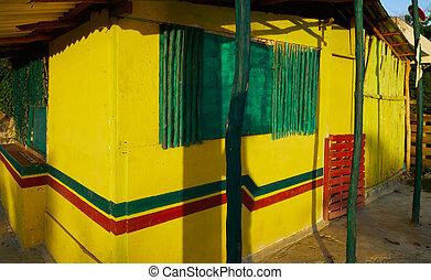 épület, caribbean, fülke, sárga, mexikó